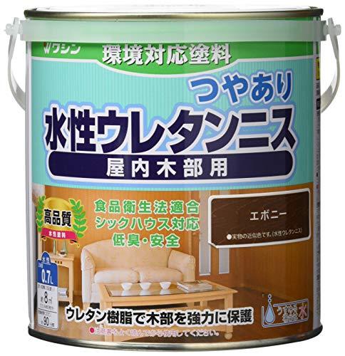 和信ペイント 水性ウレタンニス エボニー 0.7L 屋内木部用 ウレタン樹脂配合・低臭・速乾