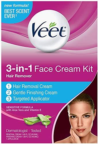 VEET 3-in-1 Face Cream Hair Remover Kit, Normal Formula With Aloe Vera & Vitamin E 1 ea