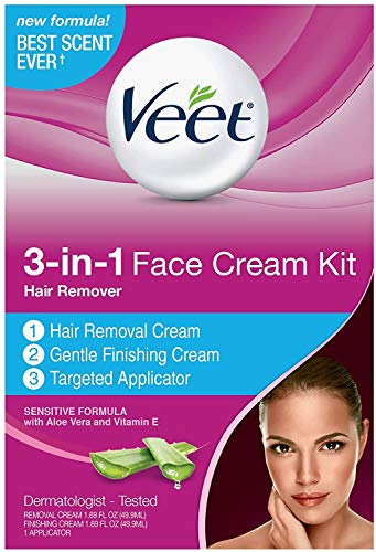 VEET 3-in-1 Face Cream Hair Remover Kit, Normal Formula With Aloe Vera & Vitamin E 1 ea (Pack of 6)