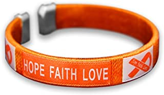 50 Pack Gun Violence/Mass Shooting Awareness Orange Ribbon Bangle Bracelets - Hope Faith Love. March for Our Lives Bracelets (50 Bracelets - Bulk)