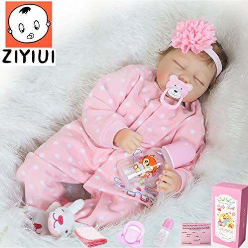 ZIYIUI 22Zoll 55cm Reborn Baby-Puppe Weiches Vinylsilikon Realistisch Baby Puppe lebensecht Reborn Baby Mädchen Handgemacht Neugeborene Echte Babypuppe