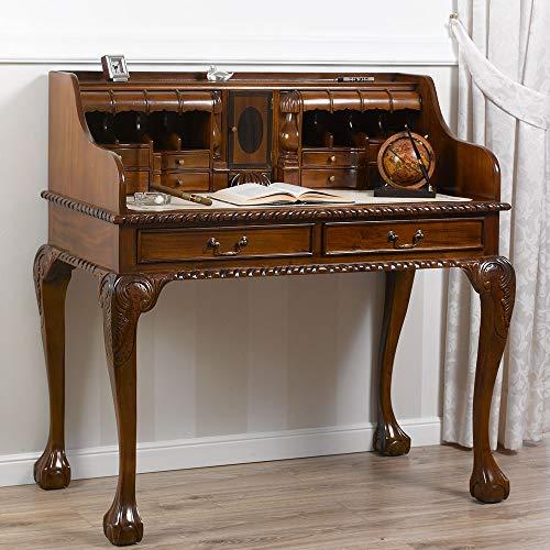 SIMONE GUARRACINO LUXURY DESIGN Sekretär Schreibtisch Lady Chippendale Stil mit Aufsatz walnuss Kunstleder Champagner