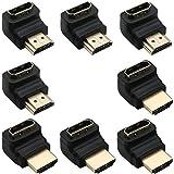 Greluma 8 Pezzi HDMI 2.0 Adattatore Maschio a Femmina Connettore ad Angolo Retto 90 Gradi 270 Gradi Cavo HDMI Extender 3D e 4K Supportato (2 Combo, Placcato in oro)