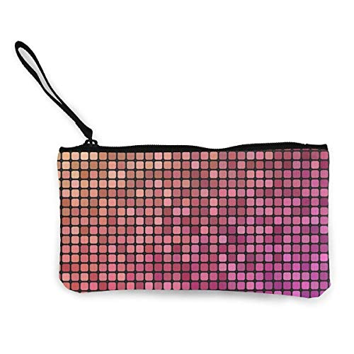 Hdadwy Fondo de Mosaico de píxeles Tono de baño de Azulejos de Lona Personalizada Monedero Bolsa Cremallera Carteras pequeñas Mujer portátil de Gran Capacidad