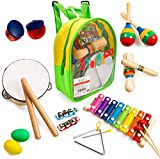 Stoie's 17 pcs Musical Instruments Set for Toddler and Preschool Kids Music Toy - Wooden Percussion Toys for Boys and Girls Includes Xylophone - Promotes Early Development and Educational Learning.