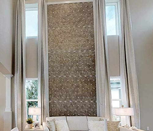"""Extra Long Faux Silk Custom Made Curtains 10 12 14 16 17, 18, 20. 24 ft Two Story Drapes Ikiriska Free swatches. High Ceiling (White Birch, 50"""" Wx156 L)"""