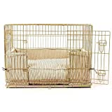 Lords & Labradors Regency Stripe Bumper Set with a Deluxe Dog Crate (Includes a crate, bumper and cushion) (Medium, Silver Crate)