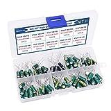 ZHITING 100 Piezas de Condensadores de Audio de Alto Grado DIY Kit de Condensadores Electrolíticos Diversos 10 Valores 10V-63V 10uf-470uf