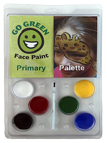 Go Green Face Paint - 6 Washable - Non Toxic Water Based Painting Kit for Kids with The Highest Safety Rating - Works Well with Brushes and Stencils on Many Faces Great for Halloween