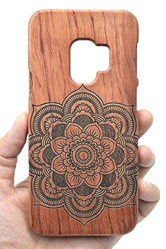 RoseFlower® Custodia in Legno per Samsung Galaxy S9 Plus - Palissandro Mandala Fiore Cover Rigida - qualit à Premium Cover in Vero Legno Naturale