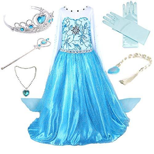 Anbelarui Mädchen Prinzessin Kleid Cosplay Kostüm Set aus Diadem, Handschuhe, Zauberstab,Perücke,Halskette (100 (Körpergröße 100cm, 01 Kleid&Zubehör)