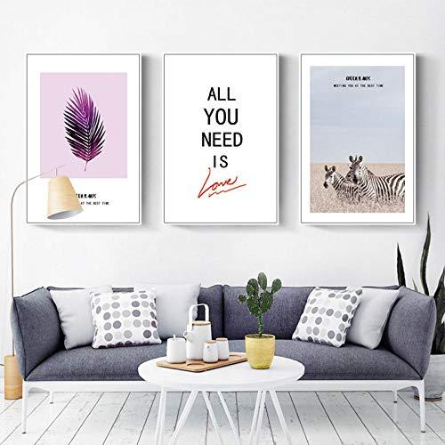 Terilizi Creatieve plant canvas schilderkunst dier zebra kristal porselein poster wand Nordic Art landschapsdruk woonkamer decoratie 50 x 70 cm x 3 geen lijst