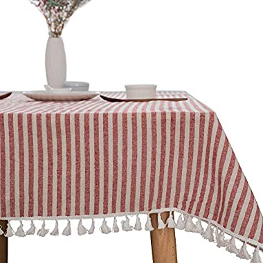 ColorBird Stripe Tassel Tablecloth Cotton Linen Dust-proof Table Cover for Kitchen Dinning Tabletop Decoration (Rectangle/Oblong, 55 x 86Inch, Red)