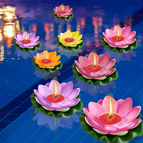 12 Pieces Lotus Floating Lanterns Floating Lotus Light Artificial Floating Candles Flower Night Lamp with Vibrant Colors for Garden Fish Tank Decoration
