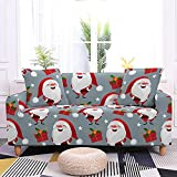 Fundas de sofá para sala de estar, fundas de sofá con estampado de Papá Noel de dibujos animados, fundas de sofá elásticas de color gris plateado con 2 fundas de almohada para sillón, sofá d