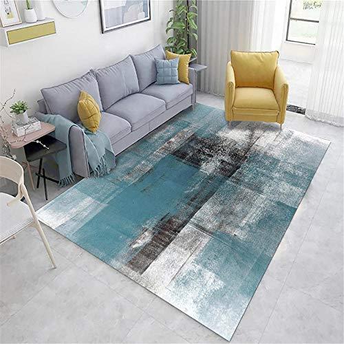 Xiaosua habitacion Azul Salón salón Azul Gris Vintage Viejo patrón Suave Alfombra Agua Lavado de Agua Alfombra de habitacion 120X160CM alfombras Salon 3ft 11.2''X5ft 3''