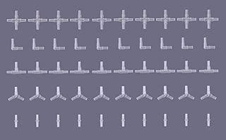水槽用 樹脂製 エアーチューブ 分岐 コネクター 三又 T字 ジョイント 5種類 全50個 接続 パーツ