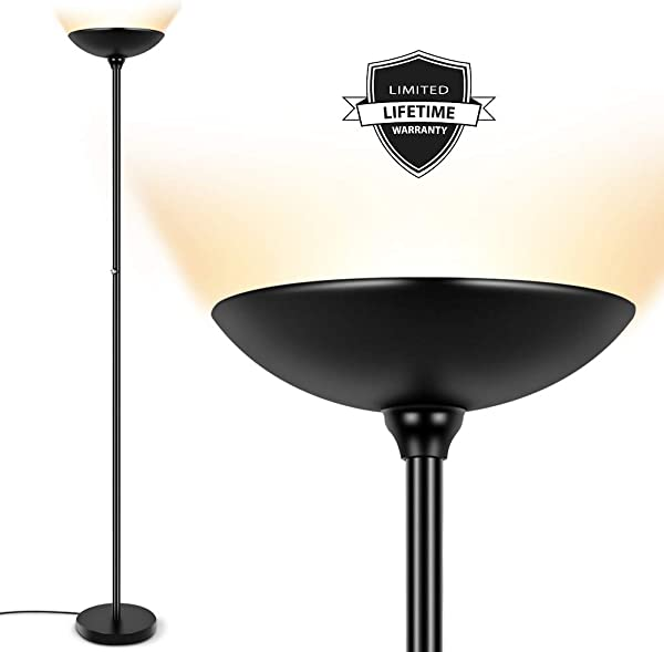 LED Torchiere Floor Lamp 24W Dimmable 2160 Lumens 3000K Warm White Energy Saving Metal Modern Standing Lamp LED Floor Lamp For Living Rooms Bedrooms Office Perfect Lamp For Reading