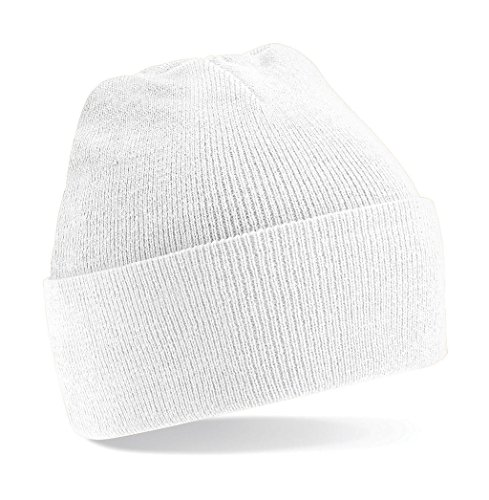 Beechfield Unisex Turn-up Beanie Baseball Cap, weiß, One Size
