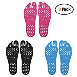 Chase Fans Beach Foot Pads for Barefoot Lover,Stick on Soles,Invisible Shoes Stick on Foot Pads,Foot Stickers, and Waterproof Design, 3 Pairs/Pack (XL)