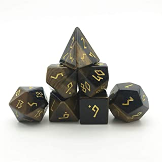 Truewon Deformed Font RPG Stone Dice Set, Handmade Dices for DND ,Made by Natural Gemstones. (Tiger's-Eye)