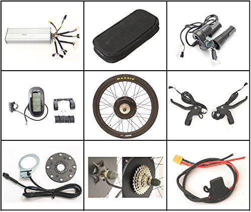 HalloMotor 10% Discount Electric Bike ebike Electric Bicycle 36V 1200W 48V 1500W 26' Rear Wheel Conversion Kits with LCD Display support 5V mobile phone charge with LCD Display