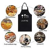 GHJK Kochschürze Set Mit Handschützern Taschen Latzschürze Wasserdicht Baumwolle Leinen Für Restaurant (Schwarz) - 7
