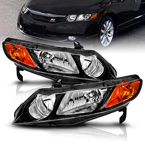 AmeriLite JDM Black Replacement Headlights Set for 2006-2011 Honda Civic Sedan 4 Door/Hybrid - Passenger and Driver Side