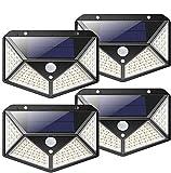 Kilponen Luz Solar Exterior 100 LED [4-Paquete 2200mAh Potente] Foco Solar Exterior Gran Ángulo 270° con Sensor de...