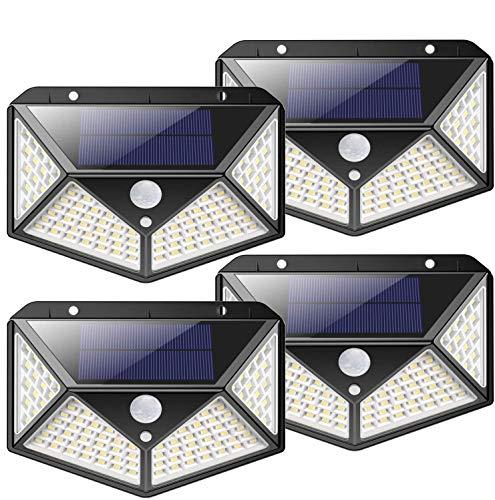 Luce Solare LED Esterno, Kilponen [2200mAh Risparmio Energetico Super Luminoso] 100 LED Lampada Solare con Sensore di Movimento 270º Illuminazione Luci Solari Impermeabile con 3 Modalità - 4 Pezzi