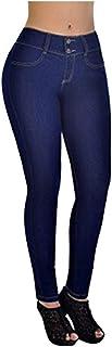 AOGOTO Womens Kardashian Skinny Jeans Button Zipper Pocket Denim Vitello Lunghezza Stretch Slim Leggings Pantaloni