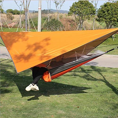 Hamaca para Acampar, al Aire Libre con mosquitera Anti-Mosquitos Columpio Tela paracaídas pérgola Anti-vuelco Hamaca Impermeable.