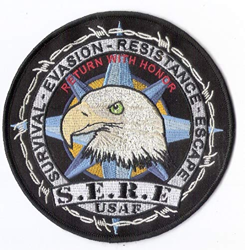 United States Air Force SERE School Embroidered Patch - 5' in Diameter, merrowed edge with a wax (iron on) backing - Survival, Evasion, Resistance, and Escape - Return With Honor - POW/MIA - Air Force