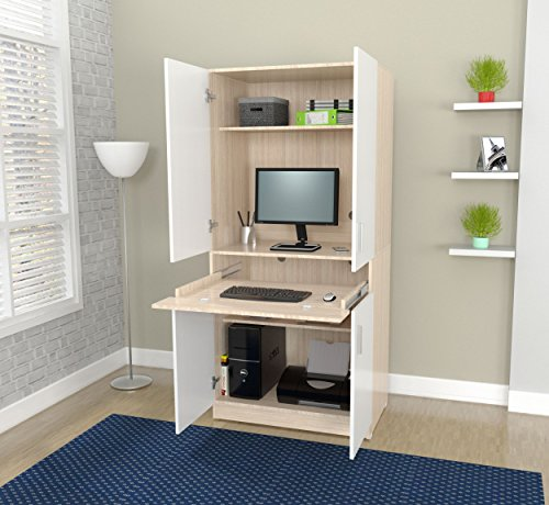 Inval Computer Desks, Laricina-white/beech