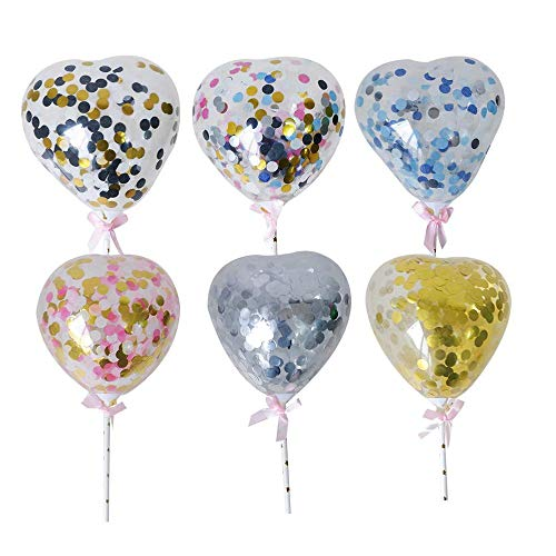 Deer Platz 6 Stücke Konfetti Luftballons, Herzförmige Pailletten Ballons, Cake Topper Ideal für Geburtstag, Hochzeit, Verlobung, Junggesellenabschied (Pink)