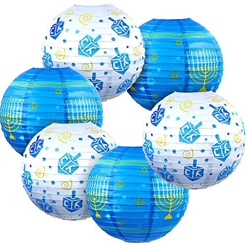 6 Pieces Hanukkah Party Decorations Hanukkah Ornament Hanging Ball Lanterns Blue Paper Lanterns Candlestick Spinning Tops Star of Sign Hanukkah Party Supplies Centerpiece Indoor Outdoor