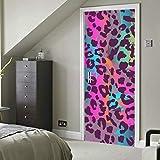 Colorido animal print vinilo autoadhesivo extraíble moda papel pintado baño calcomanías para puerta 30x79 pulgadas (77x200cm) 2 piezas