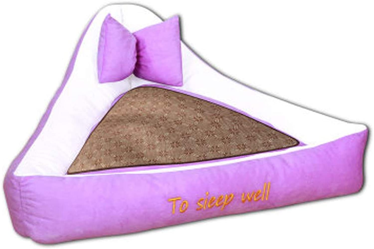 Premium Dog's Bed, Triangle Pet Nest Dog Bed Cushion with Waterproof (color   Purple, Size   M)