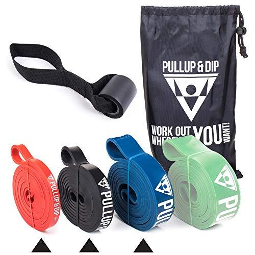 PULLUP & DIP Fitnessbänder Widerstandsbänder mit Tasche, Türanker und Übungsguide, Klimmzugband Fitnessband für Calisthenics, Crossfit und Fitness (3er-Set (EXTRA Light + Light + MEDIUM))