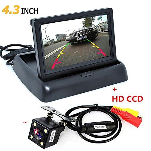 ePathChina 1 Set faltbarer hochauflösender 4,3 Zoll TFT LCD Mini Auto Monitor mit Rückfahrkamera für Fahrzeug Rückfahrsystem