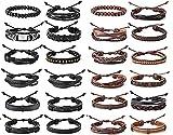 Finrezio 24 Piezas Pulseras De Cuero Trenzado para Los Hombres Conjunto De Envoltura De Puño con Cuentas De Madera Marrón Negro Ajustable