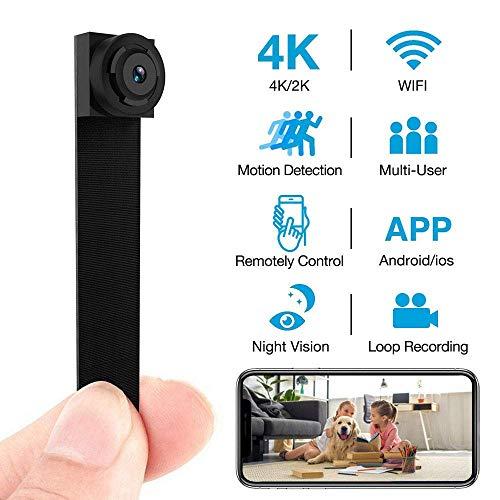 LINYU Cámara Oculta 4K WiFi Inalámbrico 2019 La Nueva cámara DIY, Enciende y apaga automáticamente la función de visión Nocturna para iPhone/Android Home Security Camera