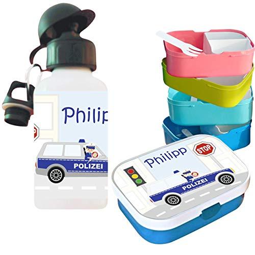 MissRompy Polizei (804) Brotdose mit Name im Set mit Trinkflasche oder einzeln Vesperdose Brotzeitdose Brotbüchse Sportflasche Aluflasche