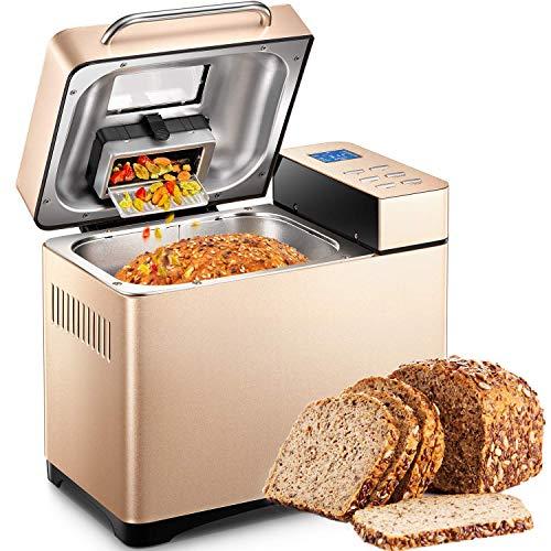Macchina per il Pane con Dispenser di Frutta Secca, Acciaio Inox Macchina del Pane con 19 Programmi Automatici, Macchina da Pane con 1kg Capacità, 3 Forme Diverse, 3 Colori di Crosta