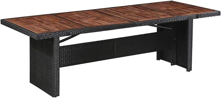Tavolo da giardino in legno massello 240x90x74 cm vidaxl 43940