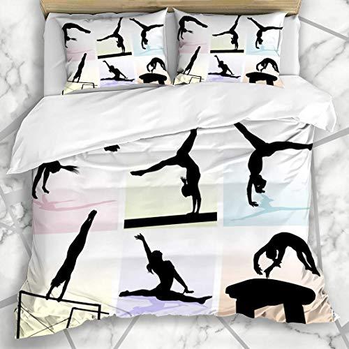 Juegos de fundas nórdicas Equilibrio de parada de manos Varios movimientos gimnásticos Color pastel Deportes Recreación Viga Caballo Chica Ropa de cama de microfibra desigual con 2Fundas de almohada E