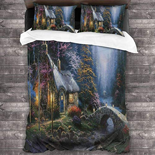 Twilight Moon Stars Forests Spruce Unisex 3-Piece Bedding Set 86'X70' with Zipper Closure Super Soft Microfiber Comforter Cover with Pillowcase for Bedroom Guest Room and Hotel