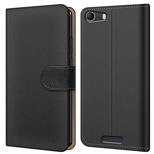 Conie BW45067 Basic Wallet Kompatibel mit Wiko Ridge Fab 4G, Booklet PU Leder Hülle Tasche mit Kartenfächer & Aufstellfunktion für Ridge Fab 4G Case Schwarz
