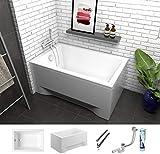 ECOLAM Petite baignoire rectangulaire acrylique Capri 120x70 cm + siphon automatique, pieds et silicone + habillage acrylique