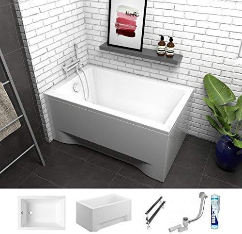 ECOLAM Badewanne Capri Mini kleine Wanne Rechteck Acryl weiß 100x70 cm + Schürze Ablaufgarnitur Ab- und Überlauf Automatik Füße Silikon Komplett-Set